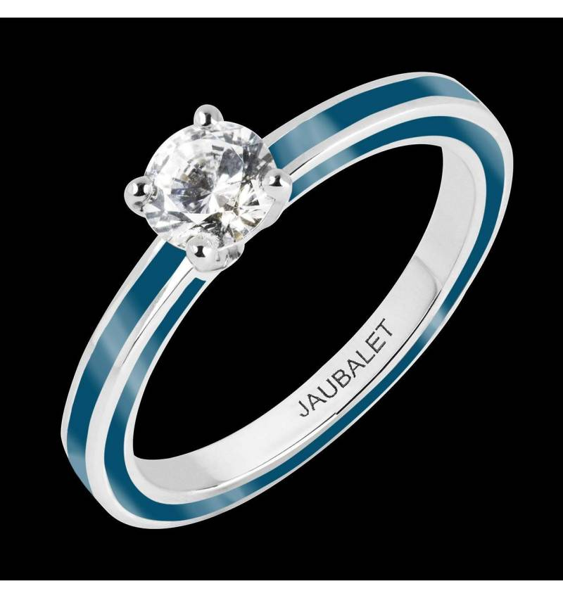Diamond Engagement Ring Pink Lacquer White Gold  Judith Full Laque