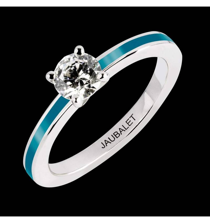 Diamond Engagement Ring Pink Lacquer White Gold Judith One Laque
