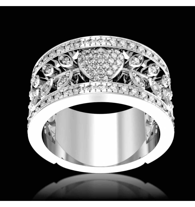 Diamond Engagement Ring Diamond Paving White Gold  Flowers of love