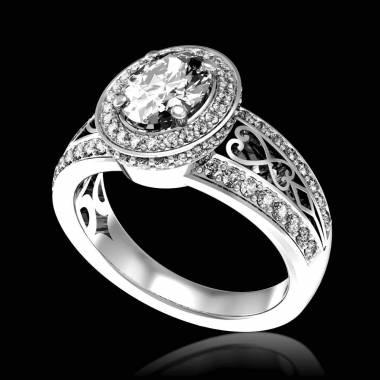Diamond Engagement Ring Diamond Paving White Gold Tsarine