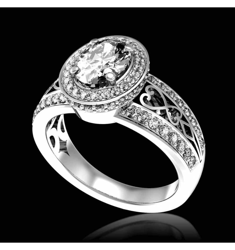 Diamond Engagement Ring Diamond Paving White Gold Tsarine