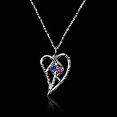 Blue Sapphire Pendant Gold Coeur