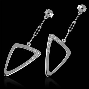 Diamond Earrings Gold Triangle