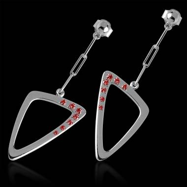 Ruby earrings gold triangle
