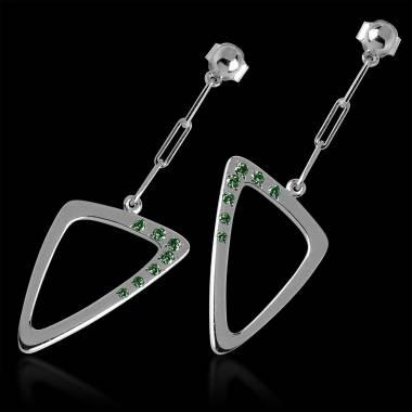 Emerald Earrings Gold Triangle