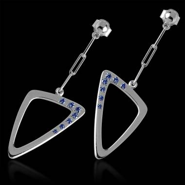 Blue Sapphire Earrings Triangle