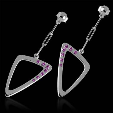 Pink Sapphire Earrings Gold Triangle