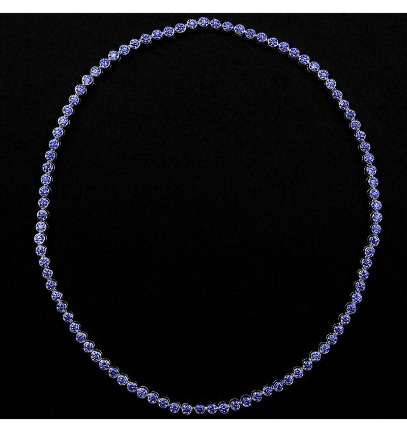 Blue Sapphire Necklace Gold Perle de Diamants