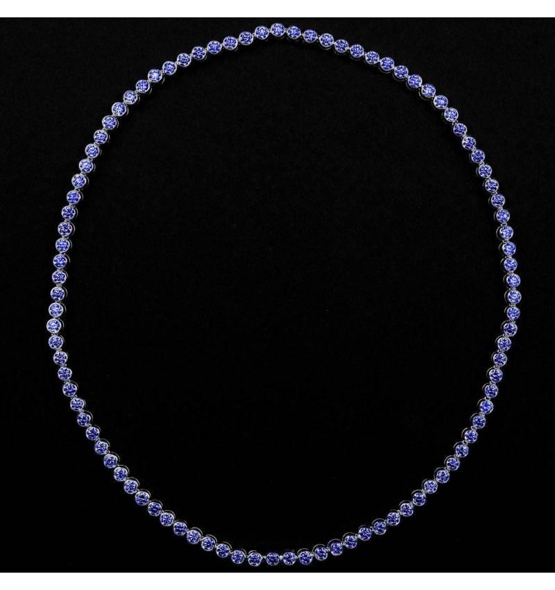 Blue Sapphire Necklace Gold Perle de Diamants