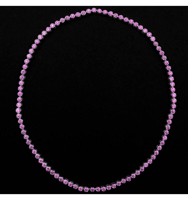 Pink Sapphire Necklace Gold Perle de diamants
