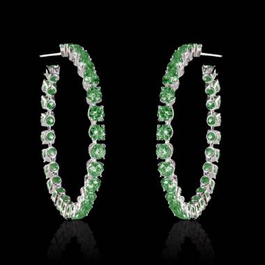 Emerald Earrings Gold Créoles