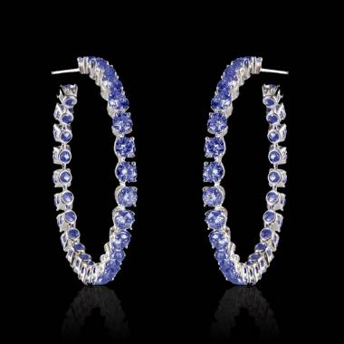 Blue Sapphire Earrings Gold Créoles