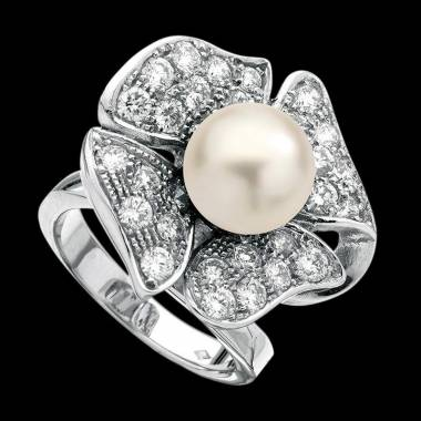 White Pearl Engagement Ring Diamond Paving White Gold Cache Cache