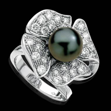 Black Pearl Engagement Ring Diamond Paving Eternal Flower