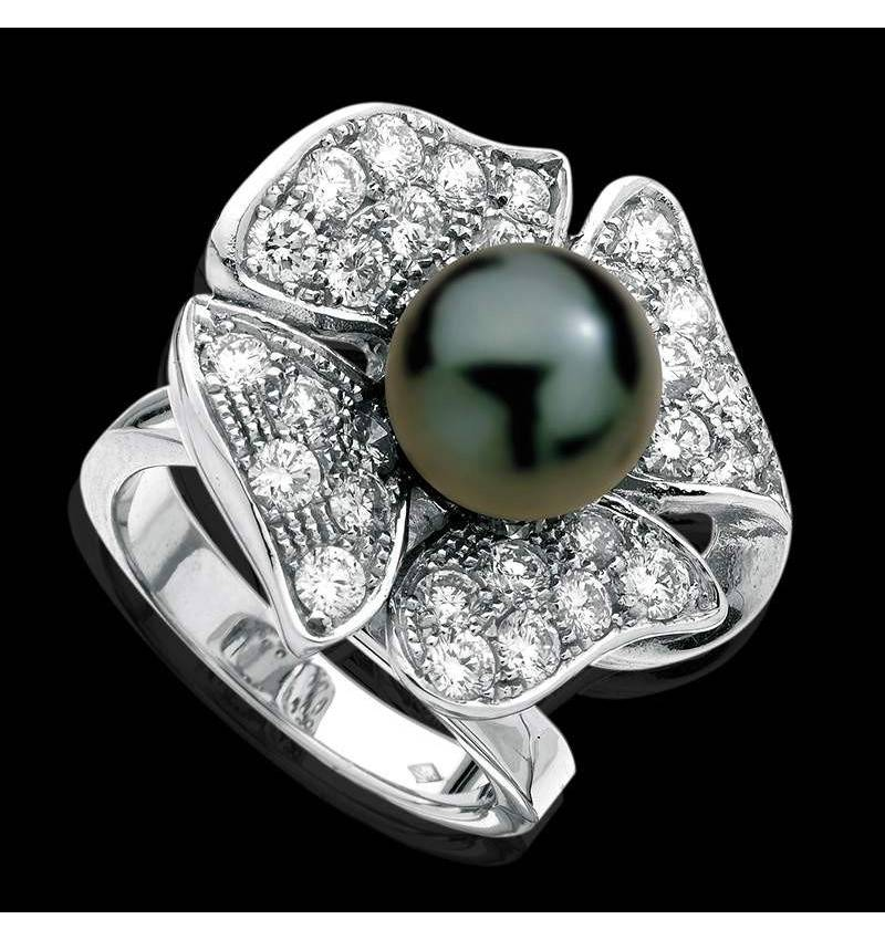Black Pearl Engagement Ring Diamond Paving Eternal Flower