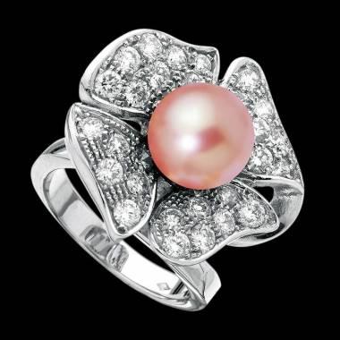 Pink Pearl Engagement Ring Diamond Paving White Gold Eternal Flower