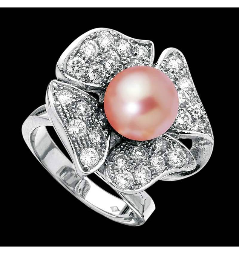 Pink Pearl Engagement Ring Diamond Paving White Gold Eternal Flower