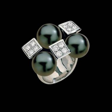 Black Pearl Engagement Ring Diamond Paving Archipel