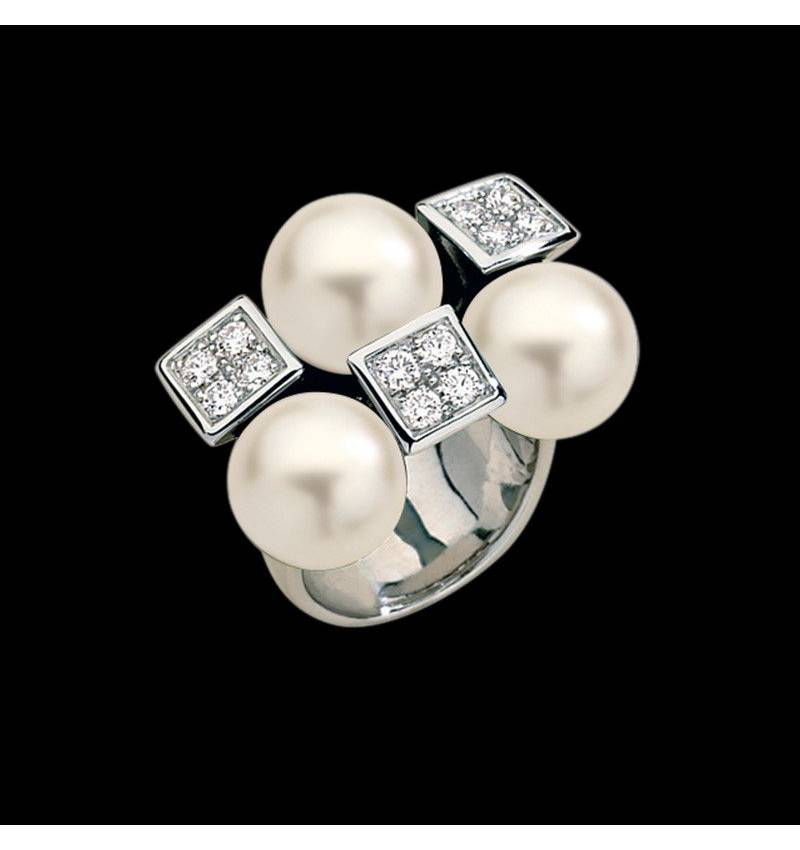 White Pearl Engagement Ring White Gold Archipel