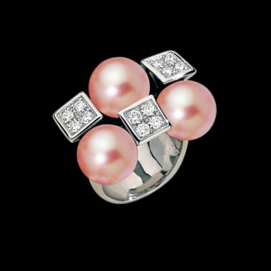 Pink Pearl Engagement Ring Diamond Paving White Gold Archipel