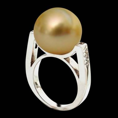 Gold Pearl Engagement Rings Diamond Paving White Gold  Princesse Bora Bora