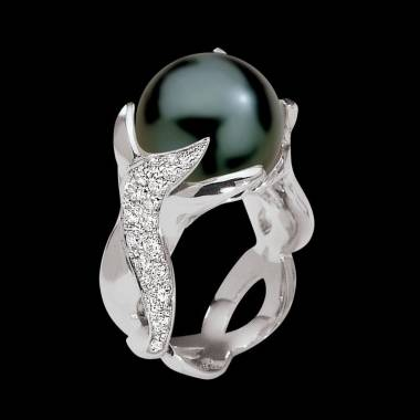 Black Pearl Engagement Ring White Gold Naïade