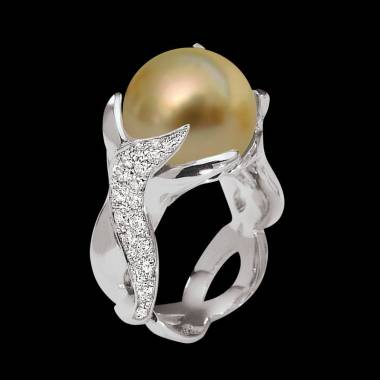 Gold Pearl Engagement Ring White Gold Naïade
