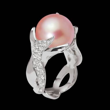 Pink Pearl Ring White Gold Naïade