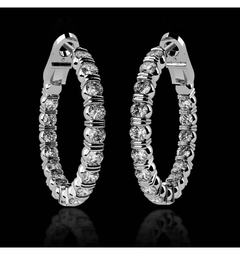 Diamond Earrings Diamond Paving Gold Créoles Inside