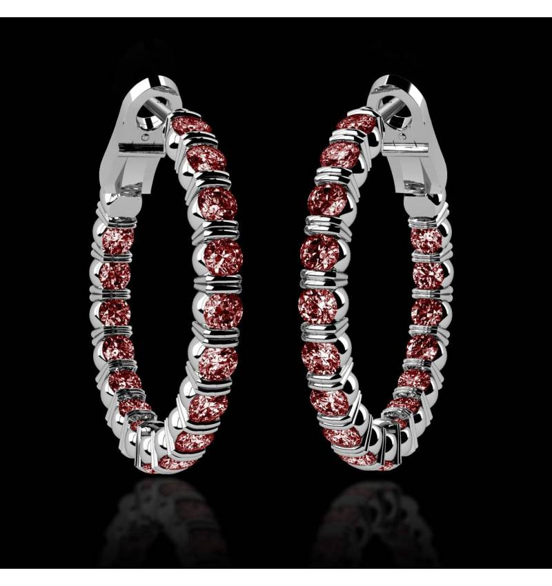 Ruby Earrings Diamond Paving Gold Créoles Inside