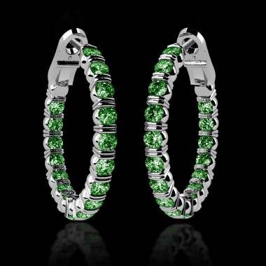 Emerald earrings Gold Diamond Paving Créoles Inside