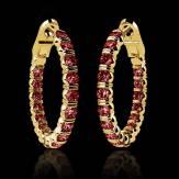 Emerald earrings Gold Diamond Paving Créoles Inside