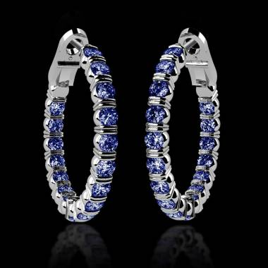 Blue Sapphire Earrings Diamond Paving Gold Creoles Inside