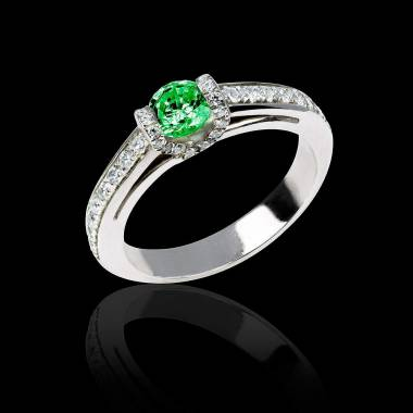 Emerald engagement ring diamond paving white gold Hera