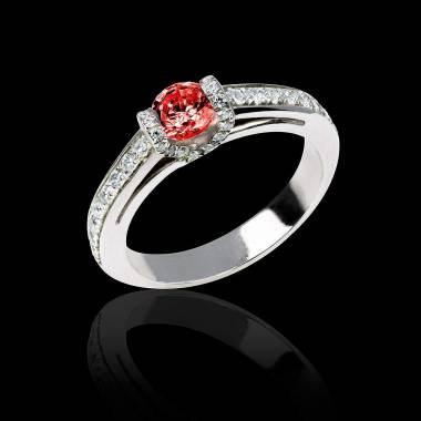 Ruby engagement ring diamond paving white gold Hera
