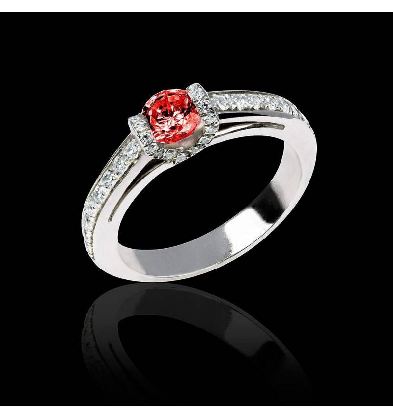 Ruby engagement ring diamond paving white gold Hera