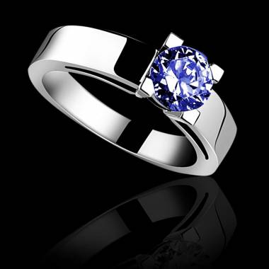 Blue sapphire engagement ring white gold Celine