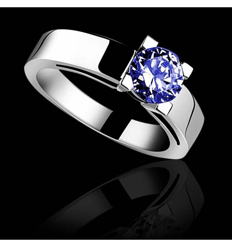 Blue sapphire engagement ring white gold Celine