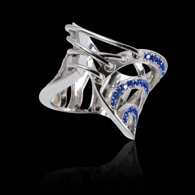 Blue Sapphire Engagement Ring White Gold Guepiere