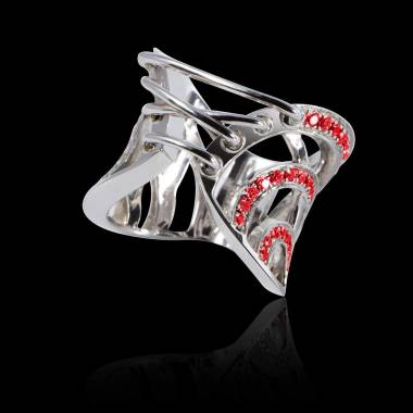 Ruby Engagement Ring White Gold Guêpière