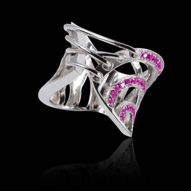 Pink Sapphire Engagement Ring White Gold Guepiere