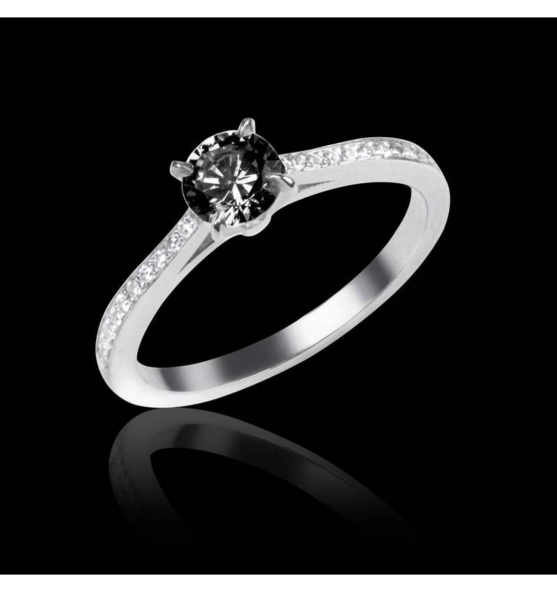 Black Diamond Engagement Ring  Diamond Paving  White Gold  Elodie