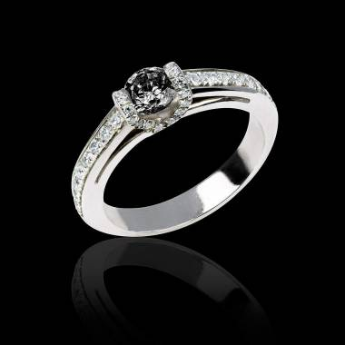 Black diamond engagement ring diamond paving white gold Hera