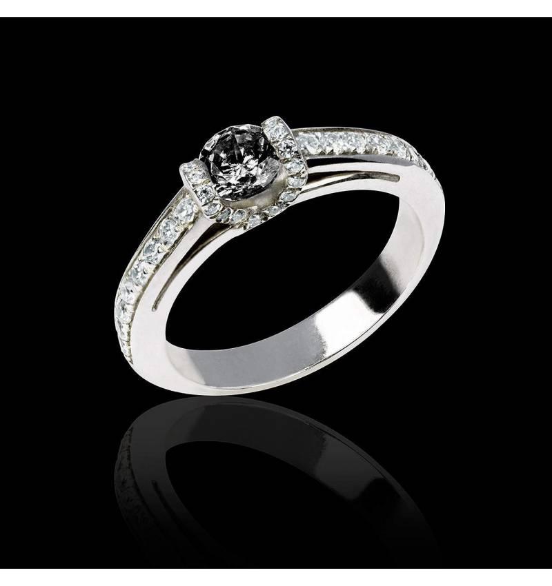 Black diamond engagement ring diamond paving white gold Hera