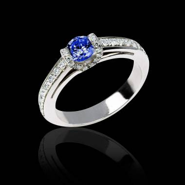 Blue sapphire engagement ring diamond paving white gold Hera