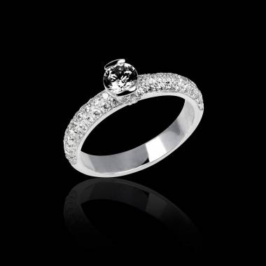 Black Diamond Engagement Ring White Gold Orpee