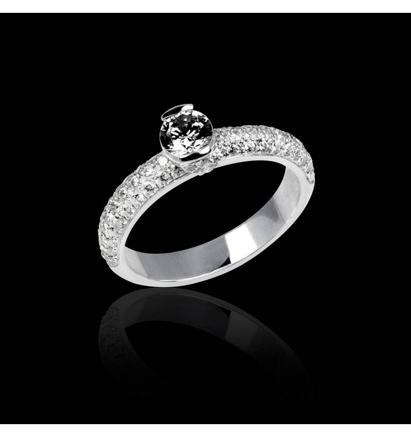 Black Diamond Engagement Ring White Gold Orpee