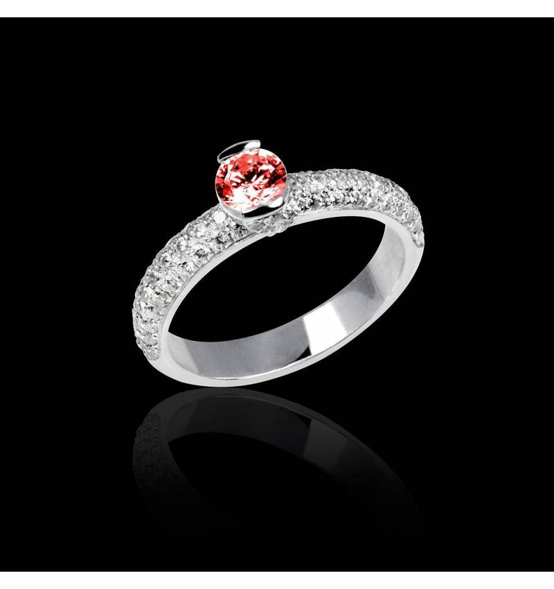 Ruby Engagement Ring White Gold Orphee