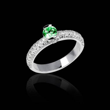 Emerald Engagement Ring White Gold Orphee