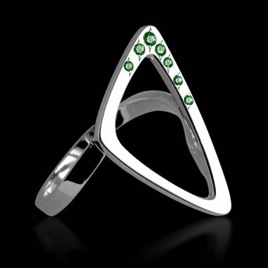 Engagement Ring Emerald Paving White Gold Triangle
